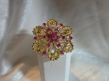 NEW GOLD PINK CRYSTAL BROOCH Approx 2in. in Quantico, Virginia