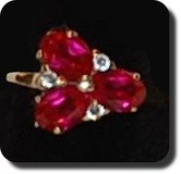 vintage estate 14k ruby & diamond ring natural earth mined flower 3 stone  585 in Camp Lejeune, North Carolina