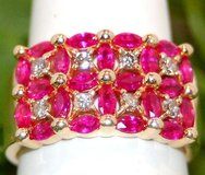 vintage estate 14k checkerboard ruby & diamond ring natural earth mined line 585 in Camp Lejeune, North Carolina
