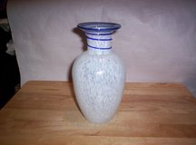 OLD WHITE  HAND-MADE VASE WITH COBALT BLUE TRIM in Camp Lejeune, North Carolina